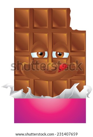 Chocolate wrapping cartoon character smiling isolated - stock vector