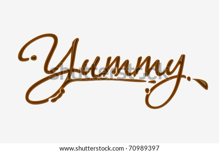 Chocolate yummy text made of chocolate vector design element. - stock vector