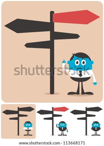 Choice and Direction: Conceptual illustration for choice and directions. It is in 4 different versions. - stock vector