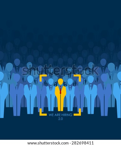 Choice best suited employee. Yellow human with red tie sign as a symbol of chosen one by recruiter. HR job seeking concepts. The chosen people. White crow, black sheep - an exception to the masses - stock vector