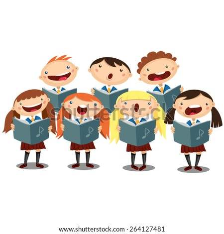 Choir girls and boys singing a song - stock vector