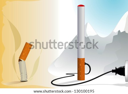 Choose an electronic cigarette - stock vector