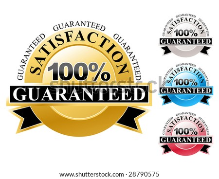 Choose from a colorful set of 100% satisfaction guaranteed icons for your business. The colors are gold, silver, blue and red. - stock vector