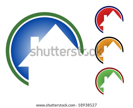 Choose from 4 different circular house icons types. (Blue, red, orange and green.) - stock vector