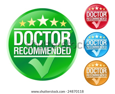 Choose from 4 different colored doctor recommended icons with a check mark. - stock vector