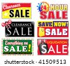 Choose from 6 different sale, clearance discount icons for your store. Advertise special products on sale and make your items stand out to the customer. - stock vector