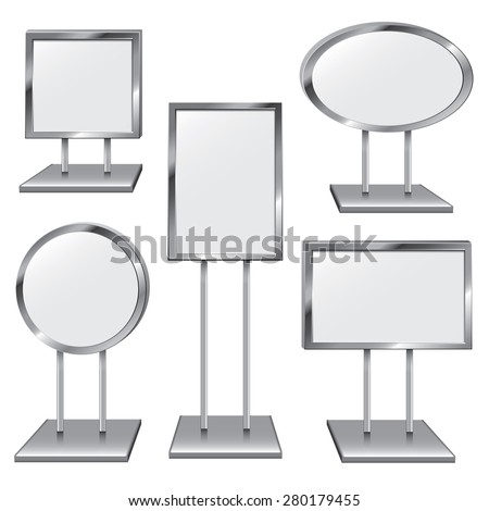 Choose From Five Chrome Sign Holders to Place Your Text - stock vector