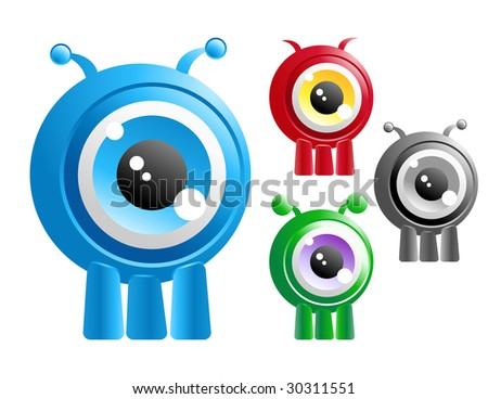 Choose from four different alien creature critters with one big eye in the center of their head. They have three legs. - stock vector