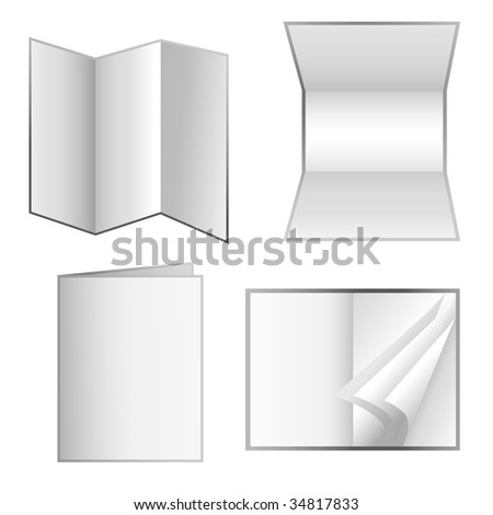 Choose from four different business marketing stationery materials. They are isolated on a white background. There is a brochure, an invitation, a folder and a an open book with white pages. - stock vector