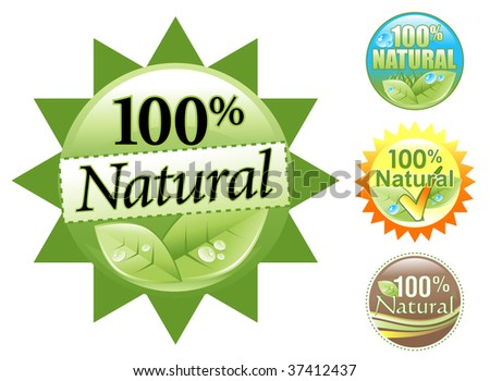 Choose from four different 100% Natural Organic Icon sets. Some are green, brown, blue or yellow like the sun. Use it as a bio badge seal on your product.