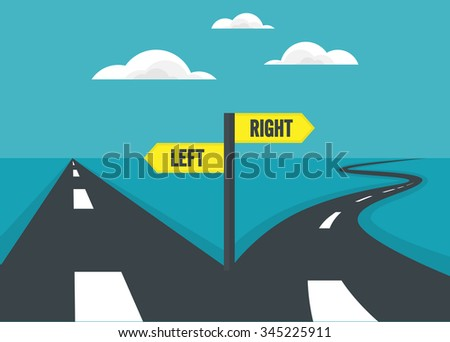 Choose path of direct way and curve way. decision concept. - stock vector