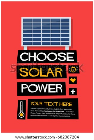 Choose Solar Power Retro Poster Design With Text Box Template
