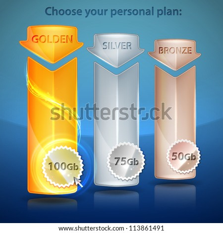 Choose your plan: golden, silver, bronze banner vector eps10 illustration, editable web emblem elements - stock vector