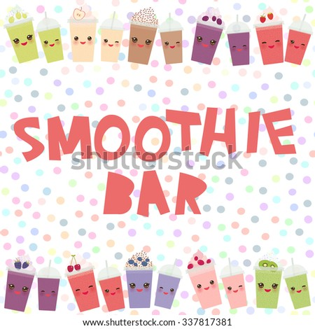Choose your smoothies. card design blueberry raspberry strawberry kiwi apple blackberry cherry chocolate cranberries grapes smoothie cup with straw whipped cream. Isolated on white background. Vector - stock vector