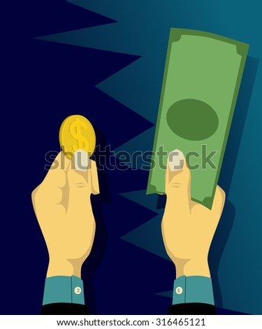 Choosing coins or banknotes - stock vector