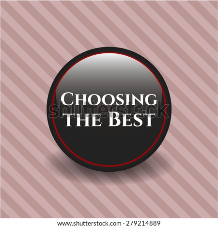 Choosing the best black badge with pink background - stock vector