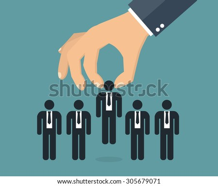 Choosing the best candidate concept. Hand picking out a businessman stick figure - stock vector
