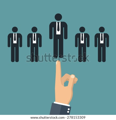 Choosing the best candidate concept -  hand pointing to a business stick figure - stock vector