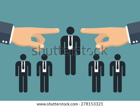Choosing the best candidate - two hands pointing to a businessman stick figure - stock vector