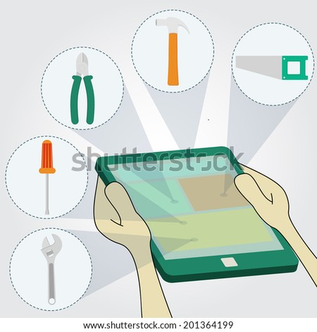 Choosing tools on tablet: hammer, screwdriver, wrench, saw, pliers. Surfing the tablet. - stock vector
