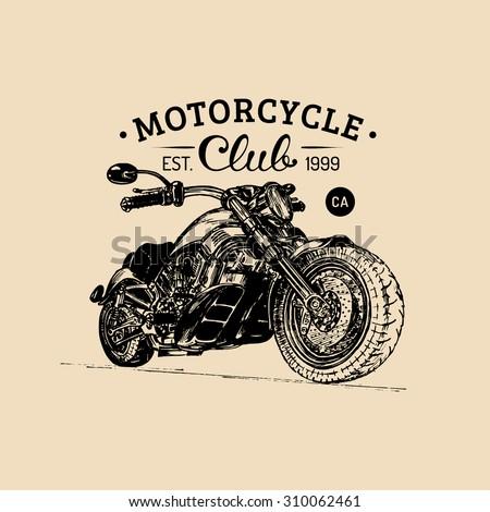 Chopper logo. Chopper sign. Motorcycle logo. Chopper garage logotype. Vector vintage biker logo. Chopper motorcycle logo. - stock vector