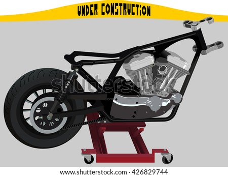 Chopper Motorcycle Frame Engine On Lift Stock Vector 426829744 ...