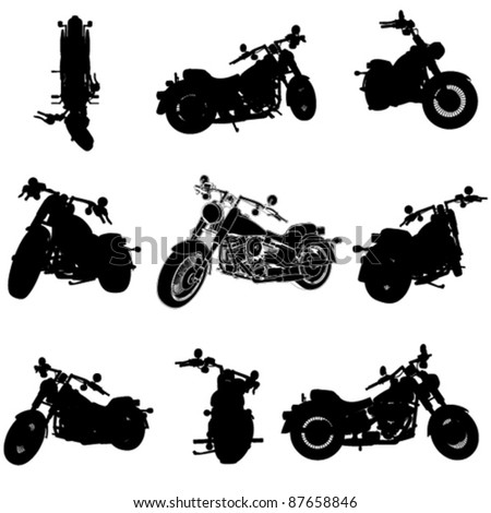 chopper motorcycle silhouette set from different perspectives (3d programs are modeled with) - stock vector