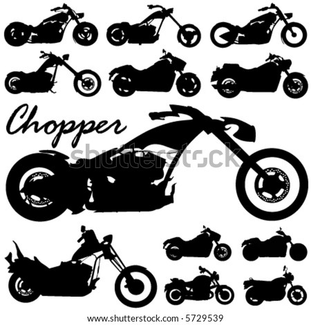 chopper motorcycle vector - stock vector