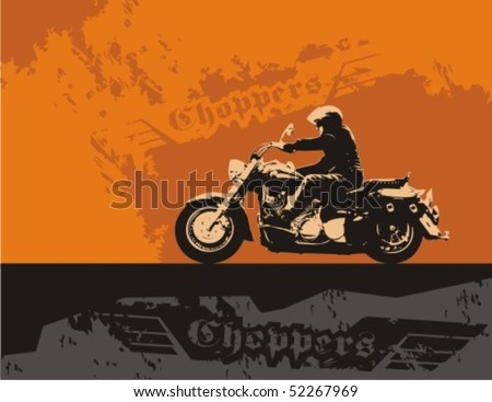Chopper with rider. Vector grunge background illustration. - stock vector