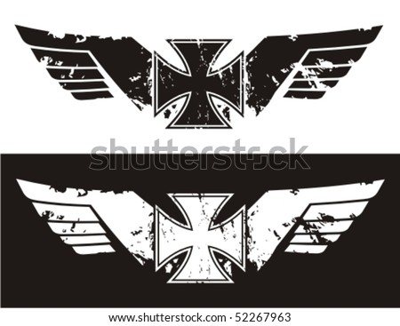 Choppers cross with wings. Vector illustration. - stock vector