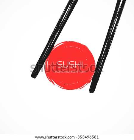 Chopsticks Holding Roll Frame. Concept illustration of snack, sushi, exotic nutrition,  sea food. Template for sushi restaurant, cafe, delivery or your business works. - stock vector