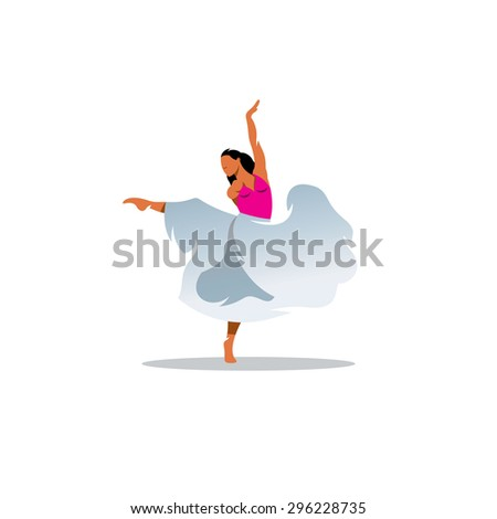 Choreography sign. Young beautiful dancer girl in dress. Vector Illustration. Branding Identity Corporate logo design template Isolated on a white background - stock vector