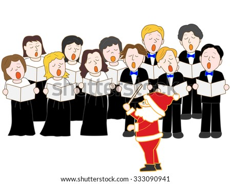 Chorus group to sing in Christmas concert - stock vector