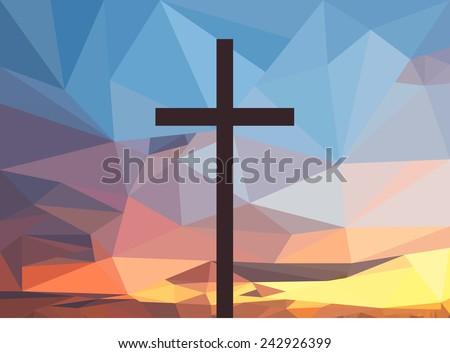 Christ cross on polygonal  sunset background. - stock vector