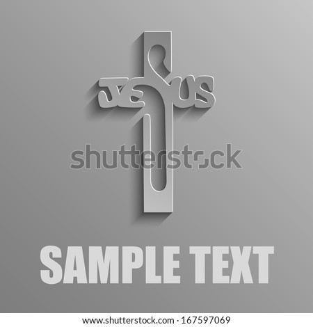 Christ's cross on a gray background - stock vector
