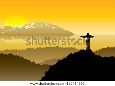 christ the redeemer at sunrise, vector - stock vector