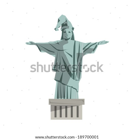 Christ the Redeemer statue in christmas theme - vector illustration