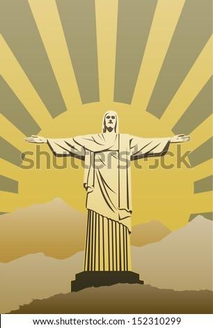 Christ the Redeemer Statue in Rio de Janeiro, Brazil - stock vector