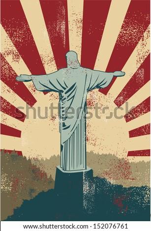 Christ the Redeemer statue poster, vector - stock vector