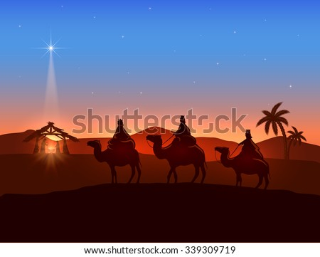 Christian Christmas background with three wise men and shining star, birth of Jesus, illustration.