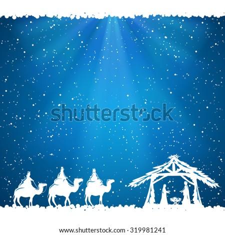 Christian Christmas scene on blue background, illustration. - stock vector