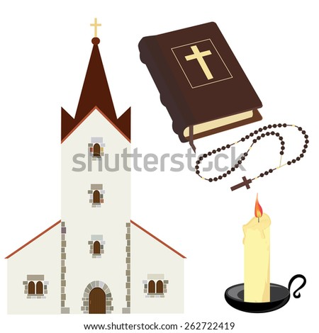 Christian church, brown closed Holy Bible. rosary beads and  candle with black holder vector set isolated - stock vector
