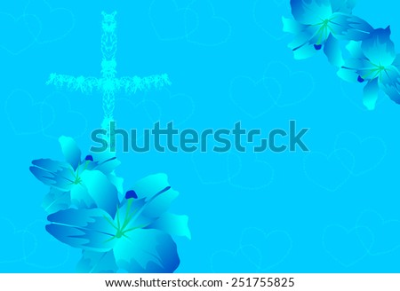 Christian cross and lily flower-Vector illustration  - stock vector