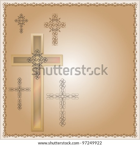 Christian cross decorated background for different uses - stock vector