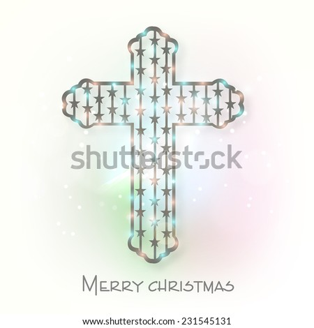 Christian Cross for Merry Christmas celebration on colorful background, can be use as poster, banner or flyer. - stock vector