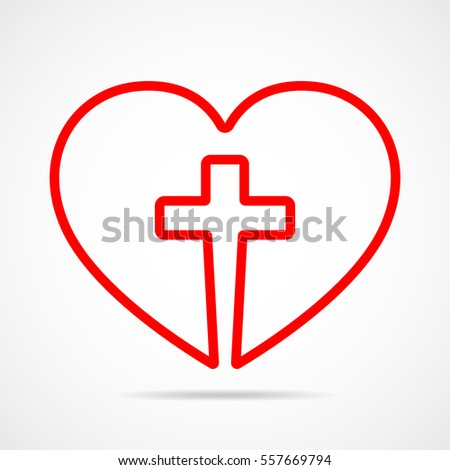 Christian Cross Icon Heart Inside Red Stock Photo Photo Vector