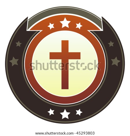 Christian cross icon on round red and brown imperial vector button with star accents - stock vector