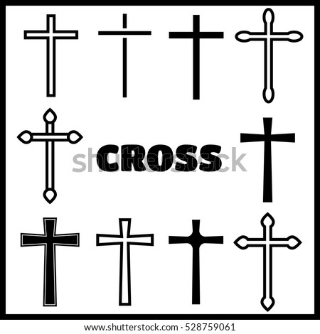 Christian cross icons. line black christian cross