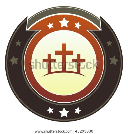 Christian cross or Calgary icon on round red and brown imperial vector button with star accents - stock vector