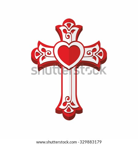 Christian cross with heart - stock vector
